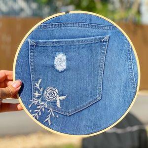 Floral Embroidered Denim pocket wall decor